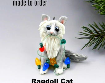 Ragdoll Cat PORCELAIN Christmas Ornament Figurine Made to Order