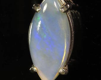 Natural Opal 3.89 ct / from Australia / .925 Sterling Silver Pendant / with .925 Sterling Chain / Fast Free Shipping with gift wrap