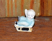 Vintage Small  Bisque Snow Babies on Sled Figurine Snow Baby Japan