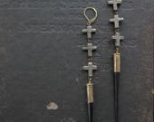 Nature Worship - Porcupine Quill Earrings With Pyrite Crosses