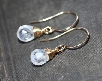 Rainbow Moonstone Earrings Gold Wire Wapped Briolette Earrings Faceted Gemstone Luxe Jewelry