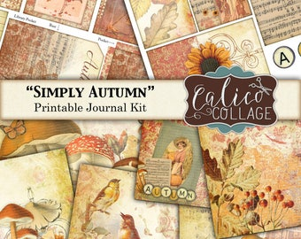 Simply Autumn, Printable Journal, Junk Journal Kit, Digital, Autumn, Fall, Harvest, Printable Ephemera, Thanksgiving, Journal Tags