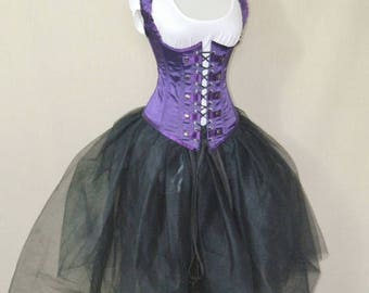 "SUMMER SALE Military Steampunk Royal Purple Corset-to fit 23-25"" natural waist"