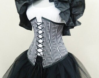 "SUMMER SALE Black White Thin Pirate Stripe Vaude Under Bust Corset-To Fit 23-25"" Waist"