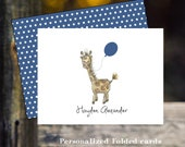 Custom handmade  hand drawn watercolor little elephant balloon baby animalsl notecards original art friendship cards comfort notes