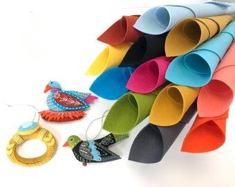 Wool Felt Kit, Second Series, Ornament Set, Colly Bird, Golden Ring, Goose A Laying, MmmCrafts, 12 Days Ornaments, DMC Floss, Stick'n Stitch