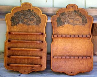 Vintage Pair Wood Souvenir Spoon and Thimble Display Racks Farmhouse Water Wheel