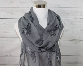 Cat Print Scarf, Gray Scarf, Animal Print Scarf, Purrrfect Accessory, Kittie Scarf, For Cat Lovers, Year Round Scarf