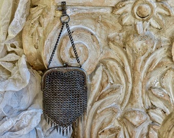 Antique Lovely.......Metal Mesh Chatelaine Purse