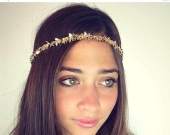 SUMMER SALE CHAIN Headpiece- chain headdress head chain gold or a silver leafchain