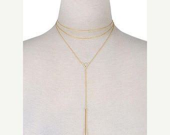 SUMMER SALE Triangle Double cord bar necklace