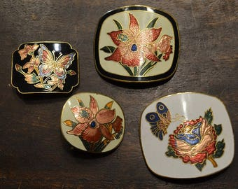 Cloisonne Belt Buckle Lot of 4.  Orchid florals butterfly ladybug enamel  brass and gold tone. finding embellishment.