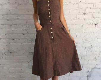 girls vintage 50s dusty mauve day dress / childrens strapless school girl dress