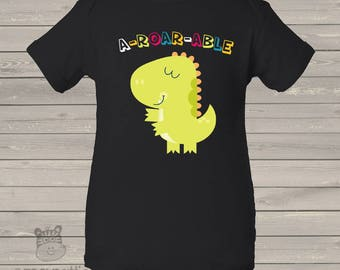 Adorable A-ROAR-ABLE  dino DARK bodysuit or tshirt - new baby gift, pregnancy announcement