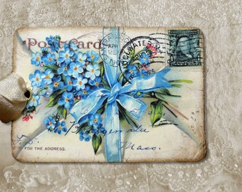 Blue Forget Me Not Postcard Gift or Scrapbook Tags or Magnet #362