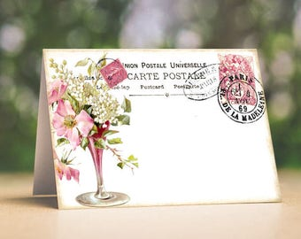 Wedding Place Cards Flower Vase French Postcard Tent Style Place Cards or Table Place Cards #480