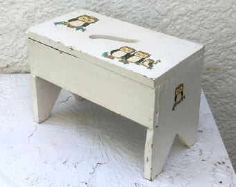Vintage Footstool, Cut-Out Handle, White with Retro Owl Decals