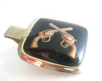 Parkway Crossed Guns Pistols Tie Clip Reverse Painting Convex Glass Vintage Free Shipping