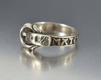 Antique Sterling Silver Buckle Ring, Mourning Ring, Victorian Memento Mori Ring, Mother of God Remember Me, Love Token Ring Mourning Jewelry