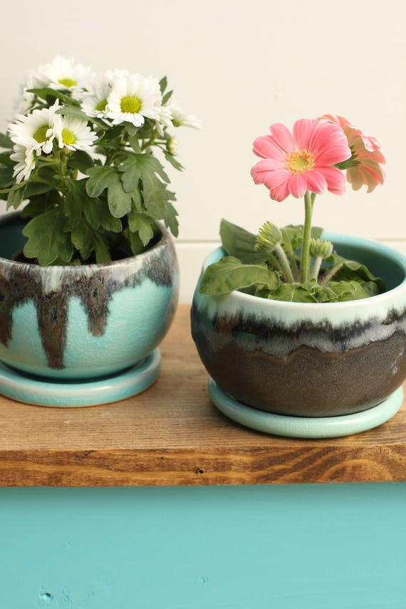 set of 2 aqua and black planter with coaster