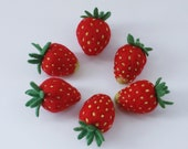 Six large needle felted strawberries