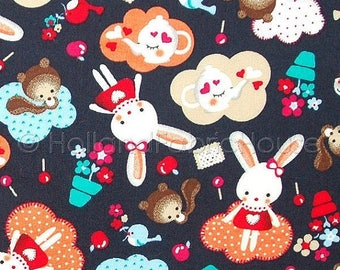 FINAL CLEARANCE SALE Cotton fabric, kids fabric, bunny fabric, animal fabric, Dutch fabric, Bunny Tea Time fabric, cute fabric