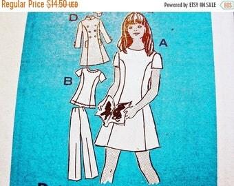 on SALE 25% Off Teen Girls Dress Pattern size 14 Sewing Pattern Bust 32 Vintage Pattern 1970s Short Sleeve Dress Tunic Pants Vest Mail Order
