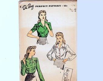 on SALE 25% Off 1940s Blouse Pattern, DuBarry Pattern, Women's Plus Size 40 Bust WWII Shirt, Vintage Sewing Pattern 40s UNCUT