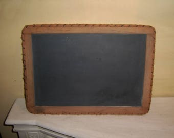 Antique SLATE Chalk Board Double Sided wood frame rustic trim country memo reminder shopping list old vintage rustic primitive