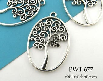40mm Large Oval Tree of Life Pewter Charm, (PWT 677) 4 pcs BlueEchoBeads
