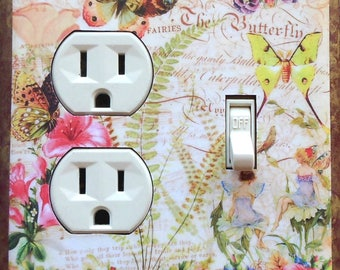 Faeries Outlet Covers & MATCHING SCREWS- Fairy art switch plates fairy nursery Faeries art fairy figure fairy bedroom wall decor decoration