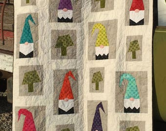 "A Tale of Two 2 Gnomes #311 60""x72"" Abbey Lane Quilts Quilt Patchwork Quilting Pattern Sewing Lap Throw Size Garden Cute Modern Fun Pieced"