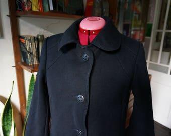vintage 70s 80s black wool long coat 70s 1980s 1970s