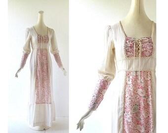 20% off sale Bohemian Maxi Dress | 70s Prairie Dress | Vintage 1970s Dress | XS