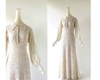 20% off sale 1930s Wedding Dress | Lace Gown | 30s Dress | 1930s Gown | XS