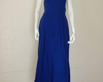 SALE 25% off sundays Halter Maxi Dress Vintage Dark Blue Boho Hippie Smocked Gauze Halter Maxi Dress (s)