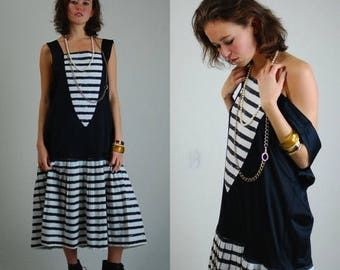 SALE 25% off sundays Striped Mod Dress Vintage 60s Black and White Stripes Slouchy Mod Drop Waist Dress (s m l)