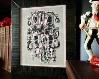 CAMEOS #077   ornate screenprinted nursery art in bright green by Kathryn DiLego (8x10)