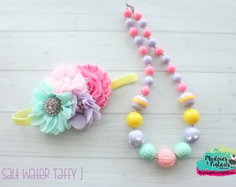 Spring necklace or baby headband { Salt Walt Taffy } pastel, pink yellow, easter, bunny, dress, outfit birthday cake smash photography prop