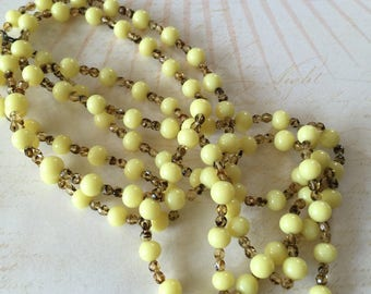 Vintage Lemon Yellow Glass Flapper Beads Necklace jewelry