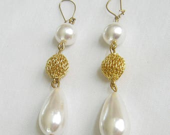 Vintage Faux Pearls and Filigree Ball Dangle Pierce Earrings