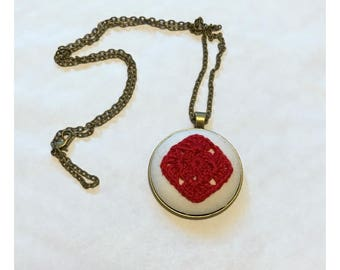 Pendant Necklace - Red Crocheted Granny Square with 24 inch chain