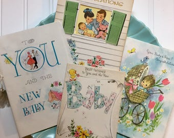 Four Vintage Baby Greeting Cards, Midcentury Baby Cards, 1950s-1960s New Baby Cards, Retro Baby Cards