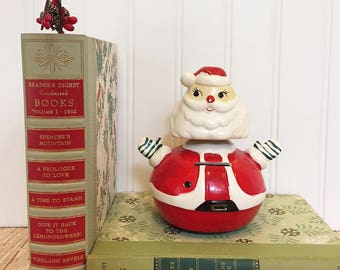 Vintage Santa Bank with Bobble Head, Weeble-Wobble Santa Bank, Chippy Saint Nick Piggy Bank