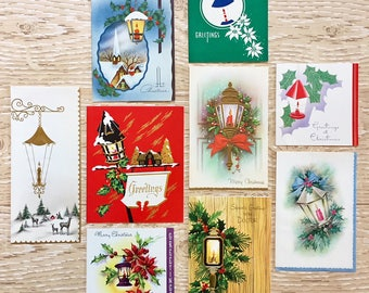 8 Vintage Candle Lantern Christmas Cards, Christmas Candles, Midcentury Cards, 1940s-1960s Candle/Lantern Christmas Cards: Set #3