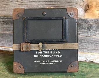 Vintage Film MOVIE REEL Box- Military US Government- Industrial Box with Strap Army Green- Militaria