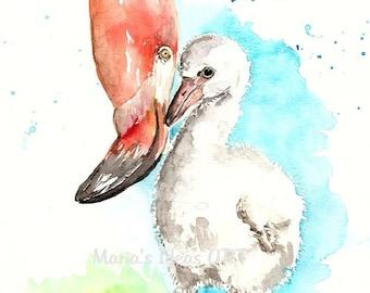 Mom with Baby art, Flamingo art, baby flamingo, baby wall art, Pink Flamingo wall art,  Bird print, Bird wall art, nursery wall art