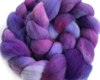Organic merino, hand dyed, spinning fiber, top, roving, 'Stellar', 4 oz.