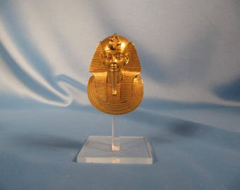 KING TUT EGYPTIAN Arttifact Reproduction, Solid brass King Tut sarcophagus Mash,Egyptian GOld colored sarcophagus of king Tutseum, Egyptian