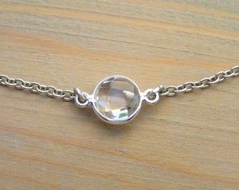 Clear Quartz Silver Necklace. 925 Sterling Silver Bezel Crystal Quartz pendant. Dainty necklace